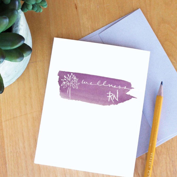 Wellness RN: Essential Oils a& Wellness   Logo design featuring custom illustration, lettering, and watercolor painting