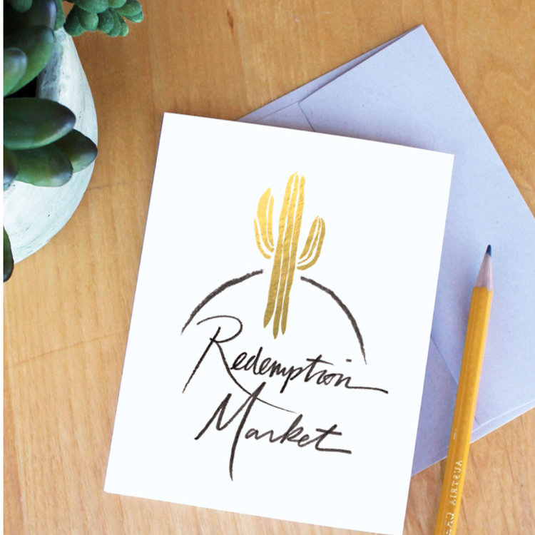 Redemption Market: Fair Trade Market   Logo design featuring custom illustration, lettering, and foiled painting