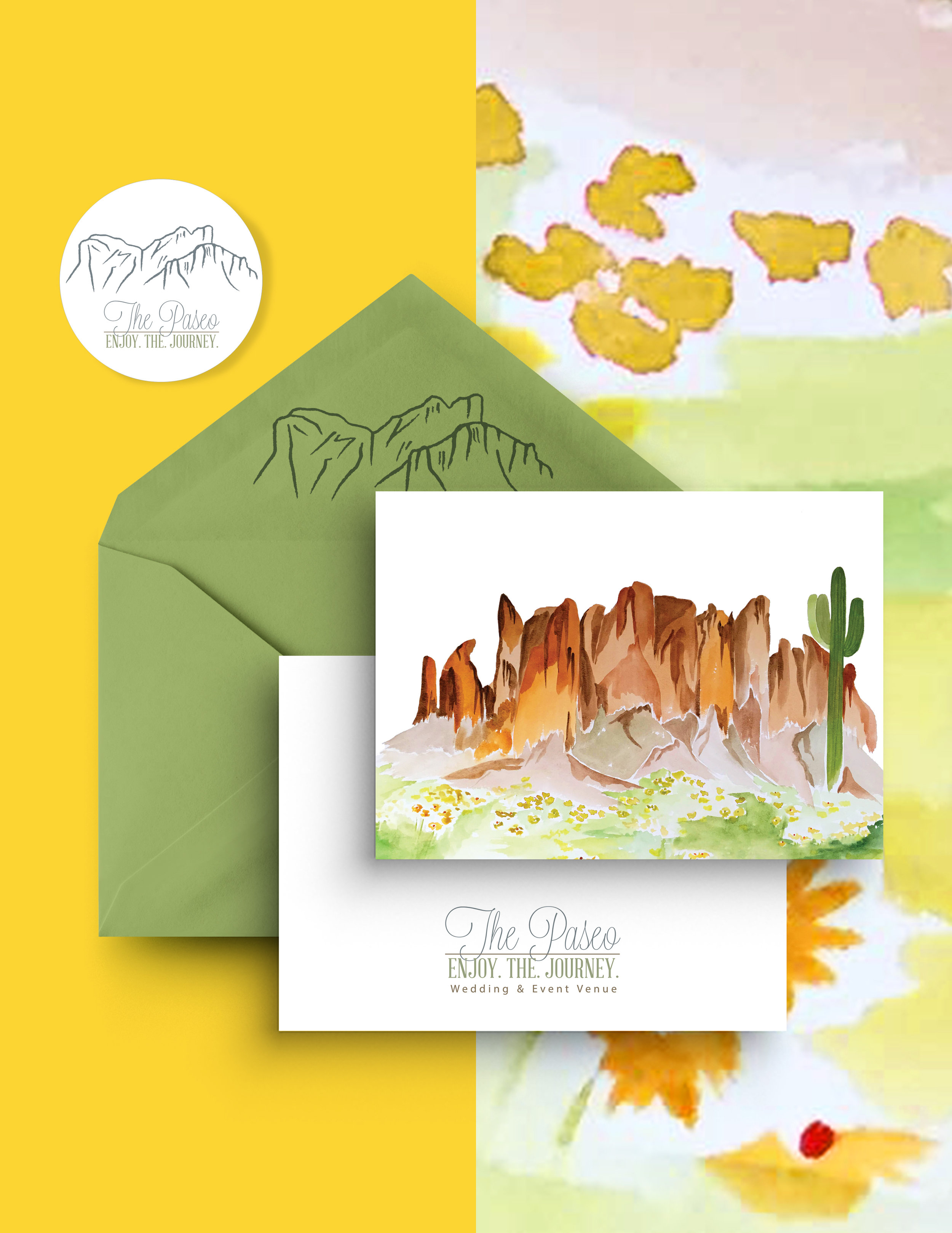 The Paseo: Wedding & Event Venue   Custom illustration for stickers & apparel, and custom stationery design