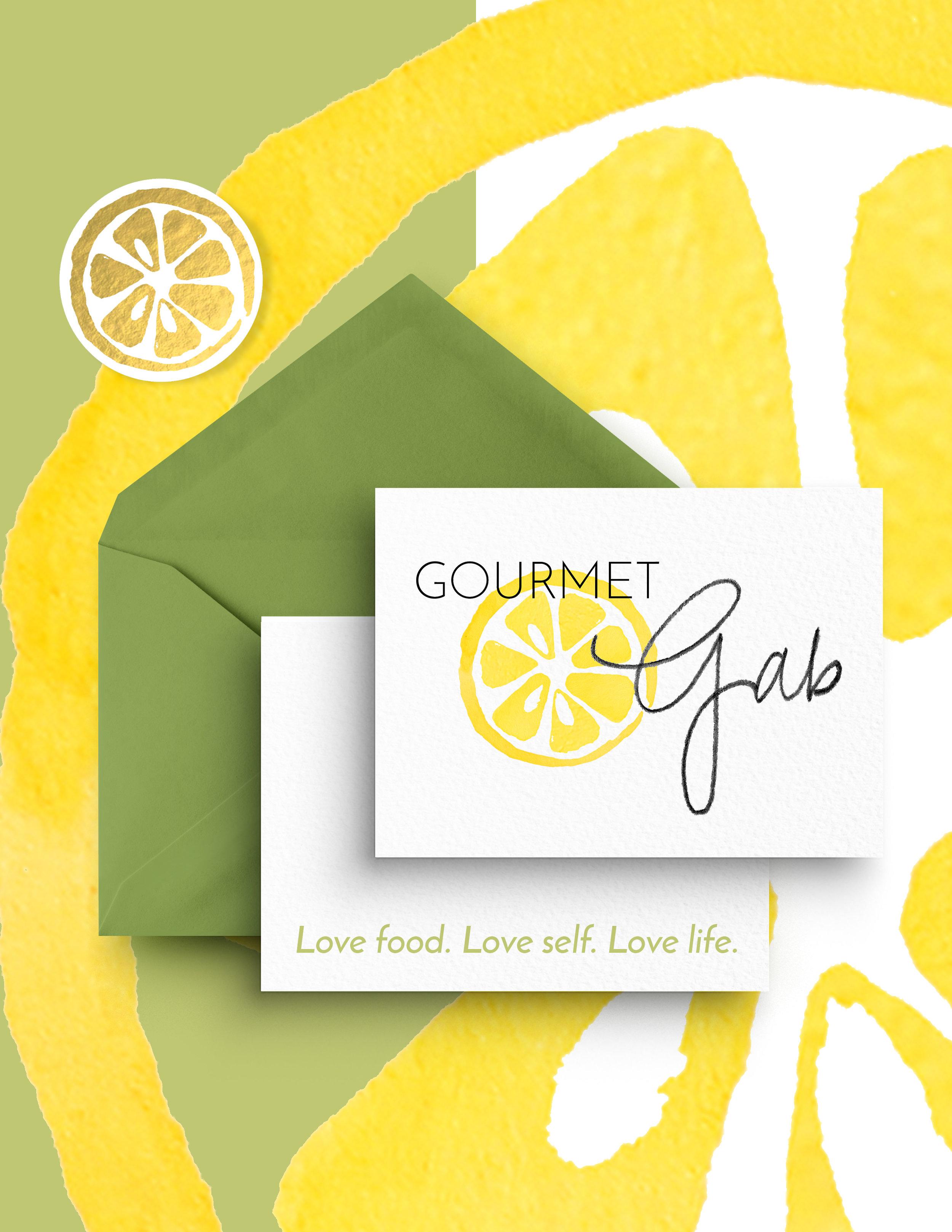 Gourmet Gab: Food Writer & Recipe Developer   Logo design featuring custom hand lettering, and product design