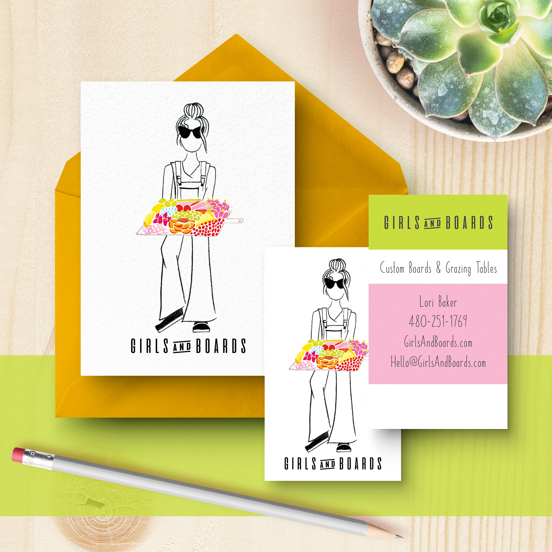 Girls and Boards: Custom Culinary Grazing Tables & Boards   Logo design featuring custom illustration and watercolor painting