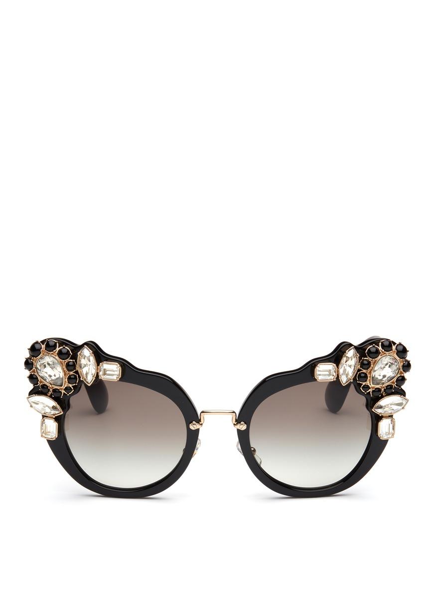 Miu Miu Bejewelled Cateye Sunglasses