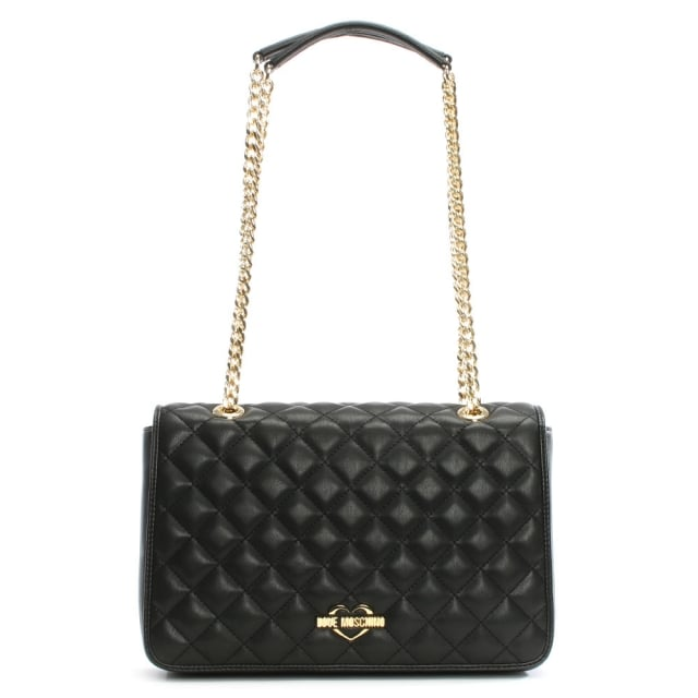 LOVE MOSCHINO Georgia Black Quilted Chain Bag