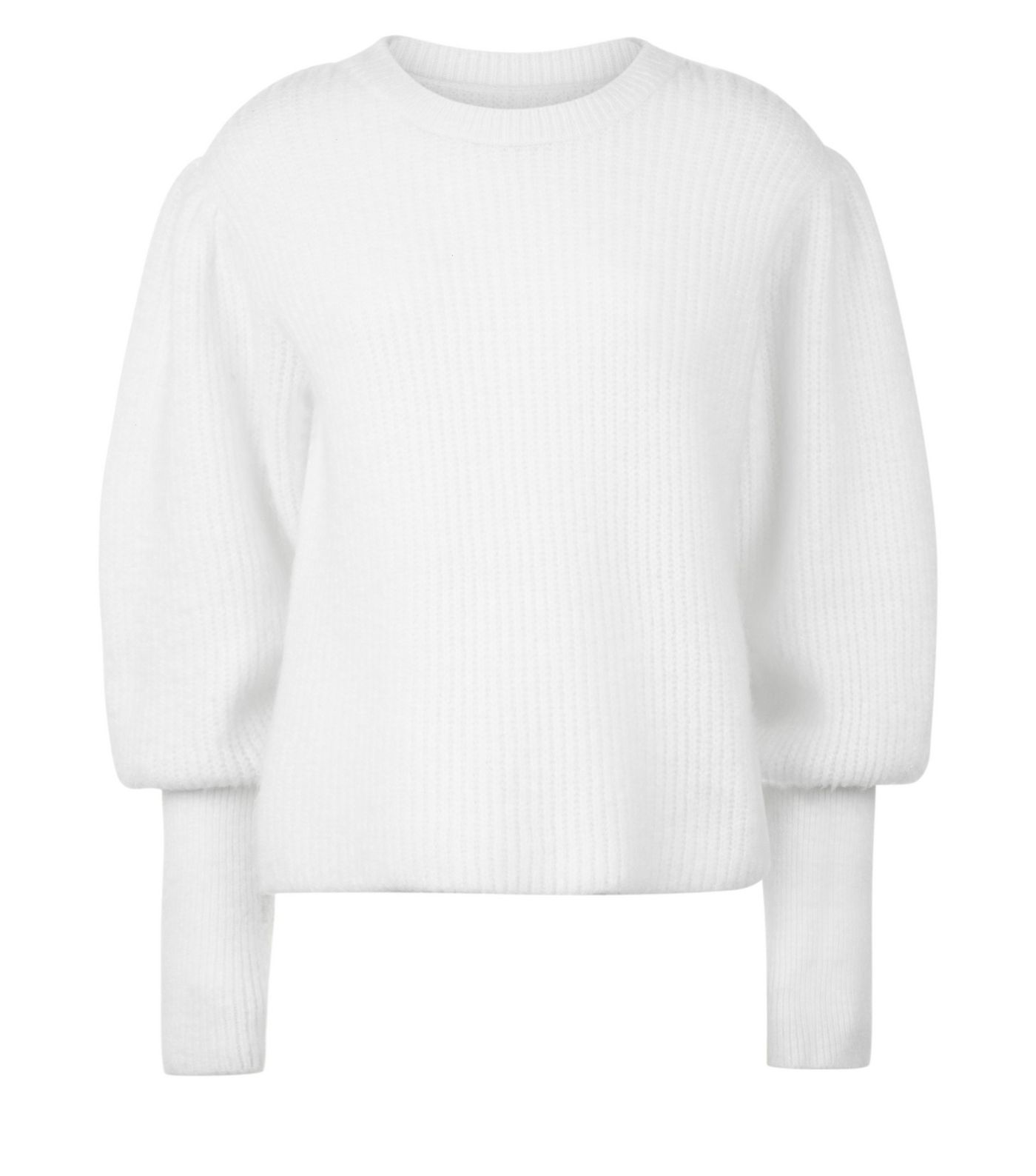 New Look White Jumper with Balloon Sleeves