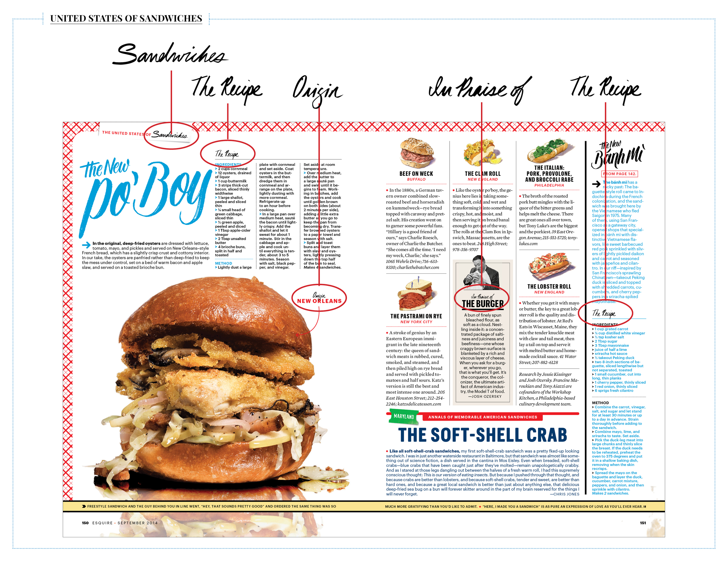 The September Issue of Esquire hada feature calledThe United States of Sandwiches and I was asked to create brush letteredspot illustrations for different sections of that feature.
