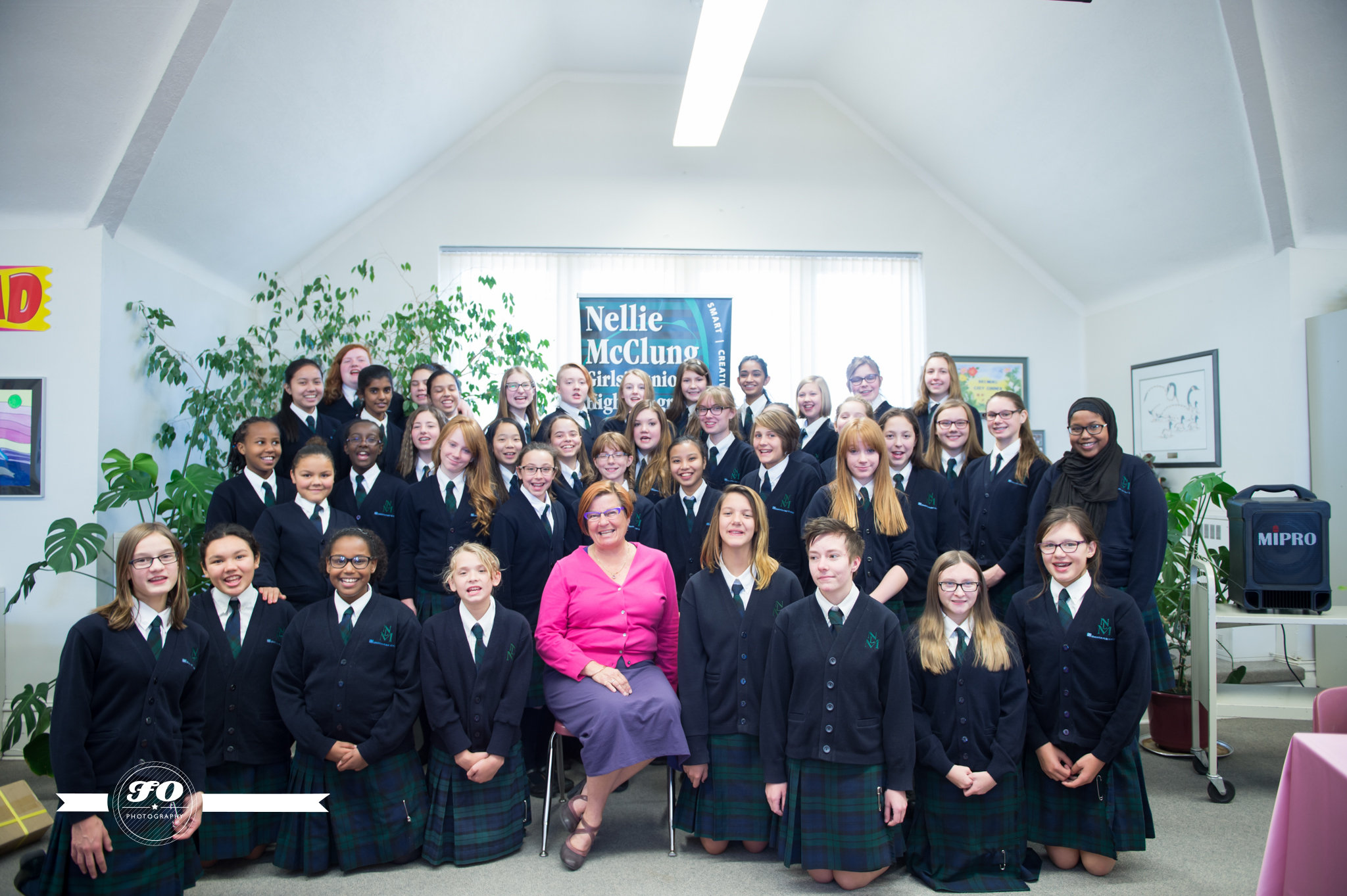 The Nellies host a pink Tea at Oliver school library with special guest Laurie Blakeman.