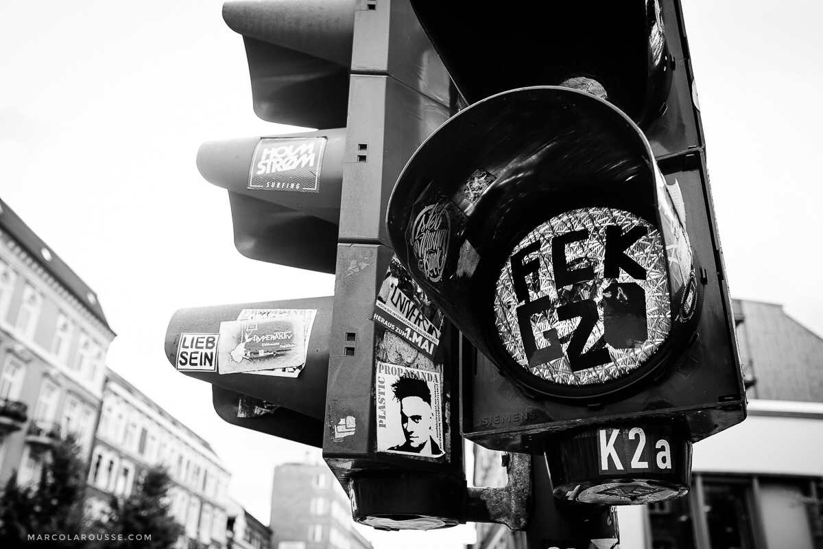 Even traffic lights carry protest messages for the G20 summit.