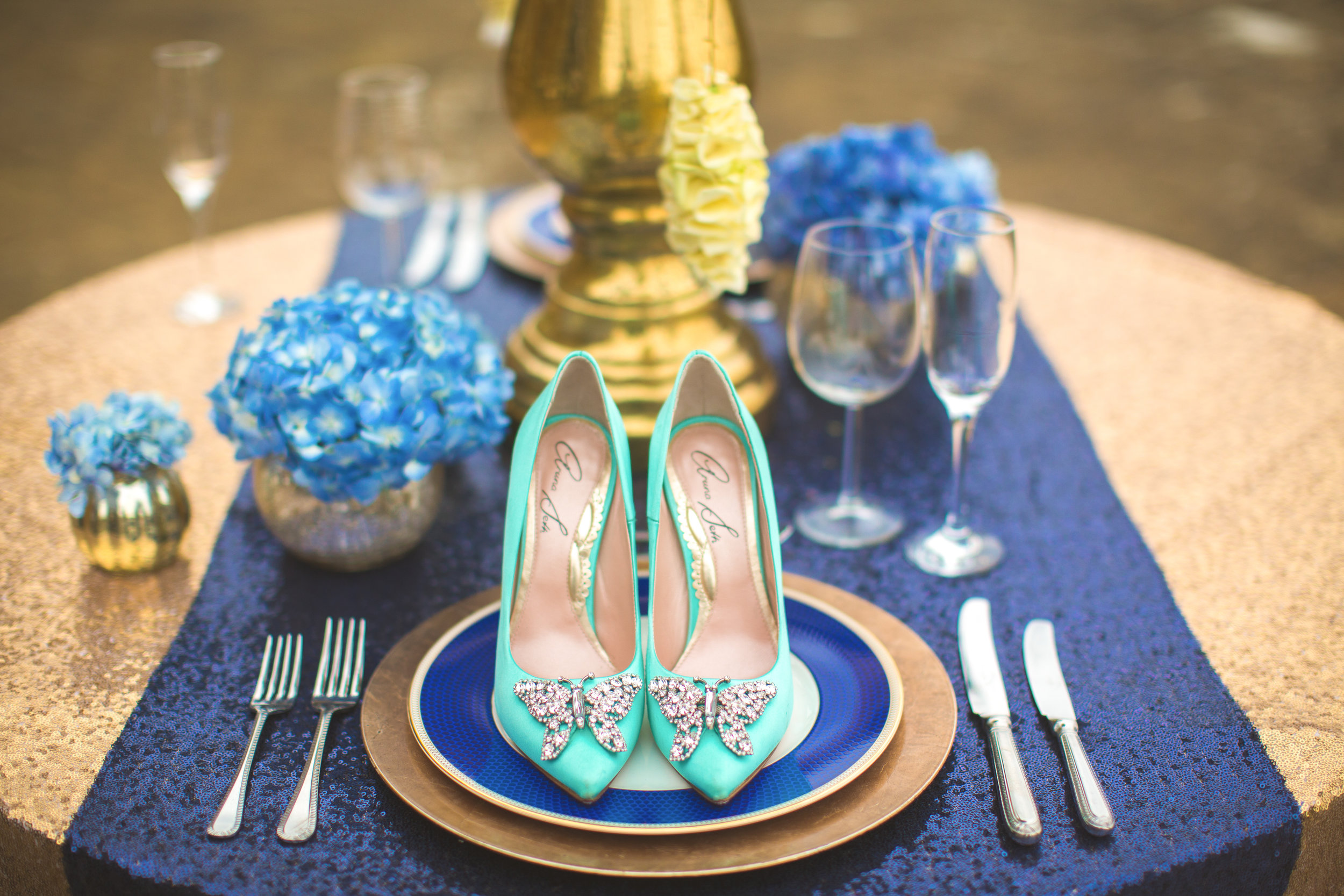 Centre stage are gorgeous Tiffany Blue shoes by Aruna Seth