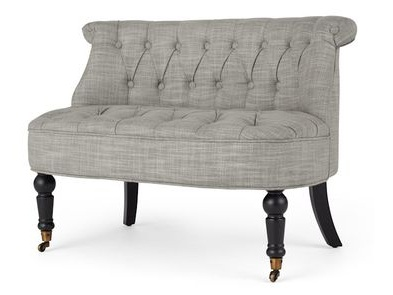 Dove Grey Linen Love Seat - 1 Available