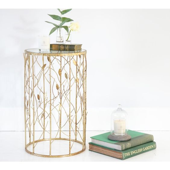 Gold Leaf Side Table / Column - 2 Available