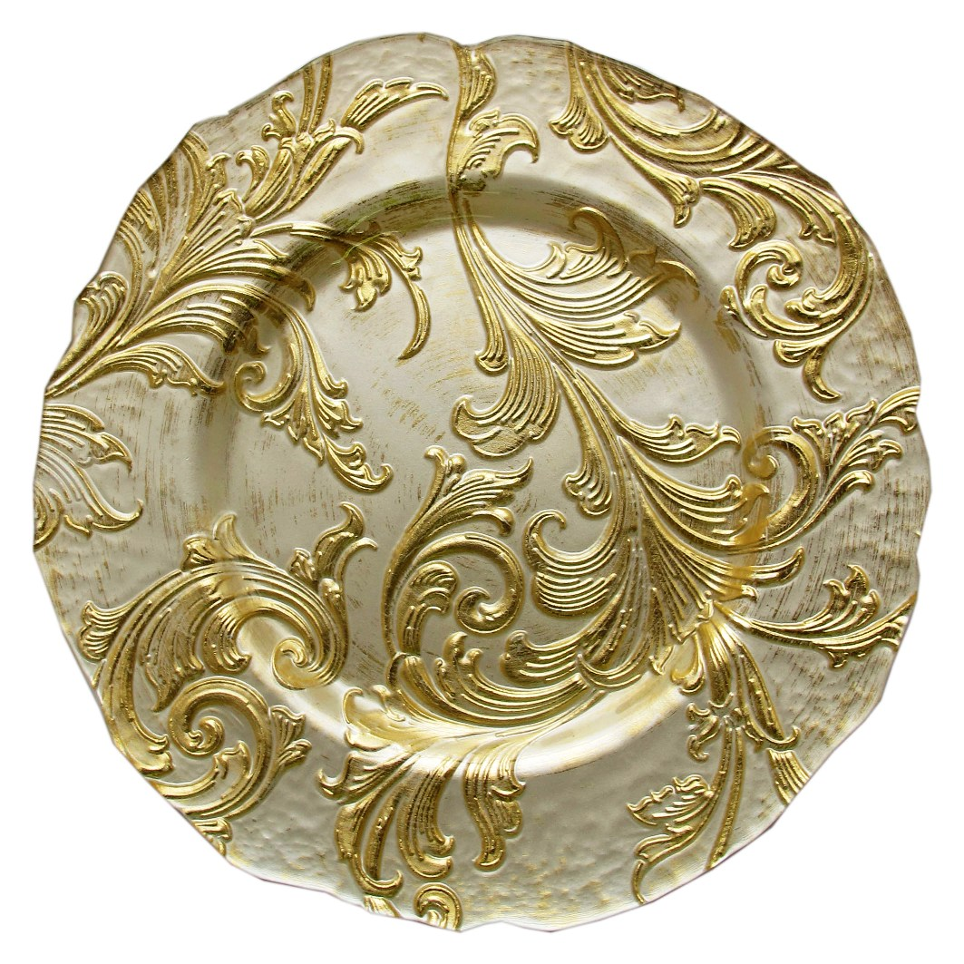 Gold & White Baroque Glass Charger -