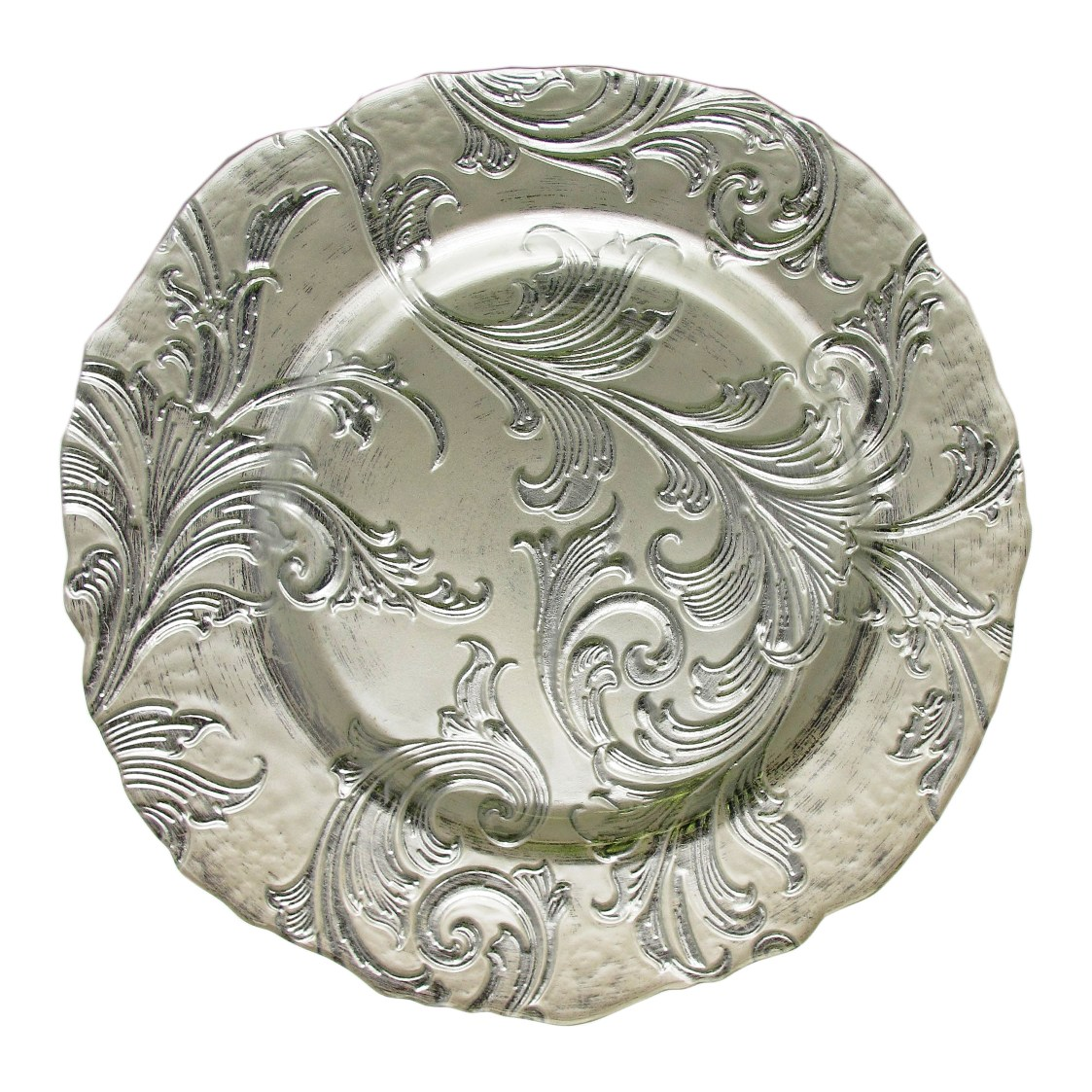 Silver & White Baroque Glass Charger -
