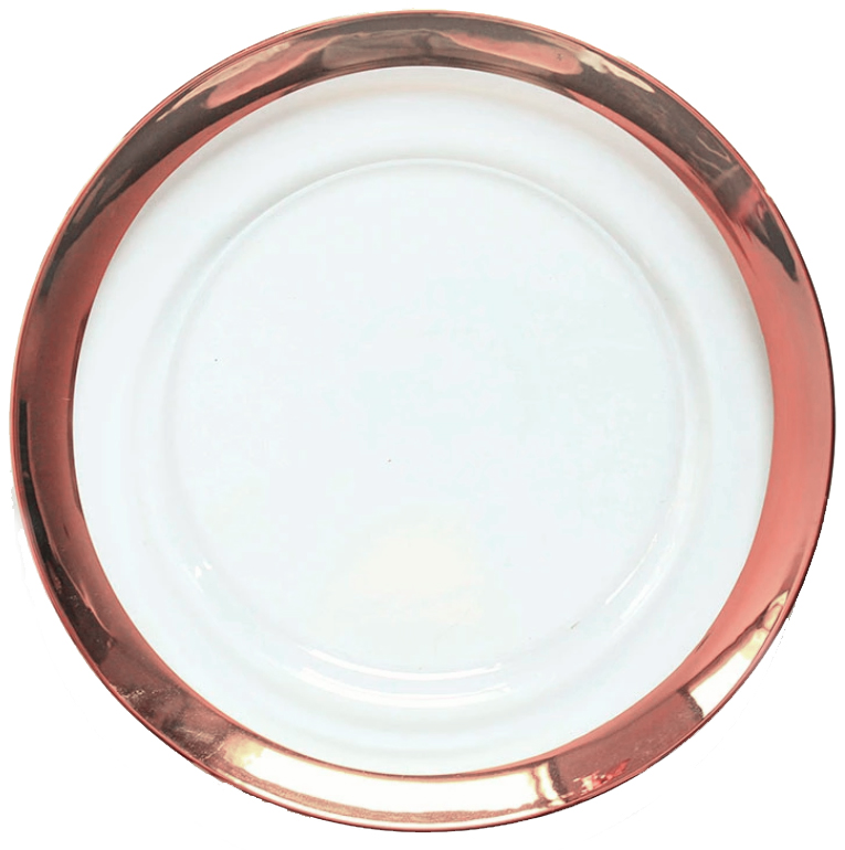 Rose Gold Clear Glass Charger - 100 Available