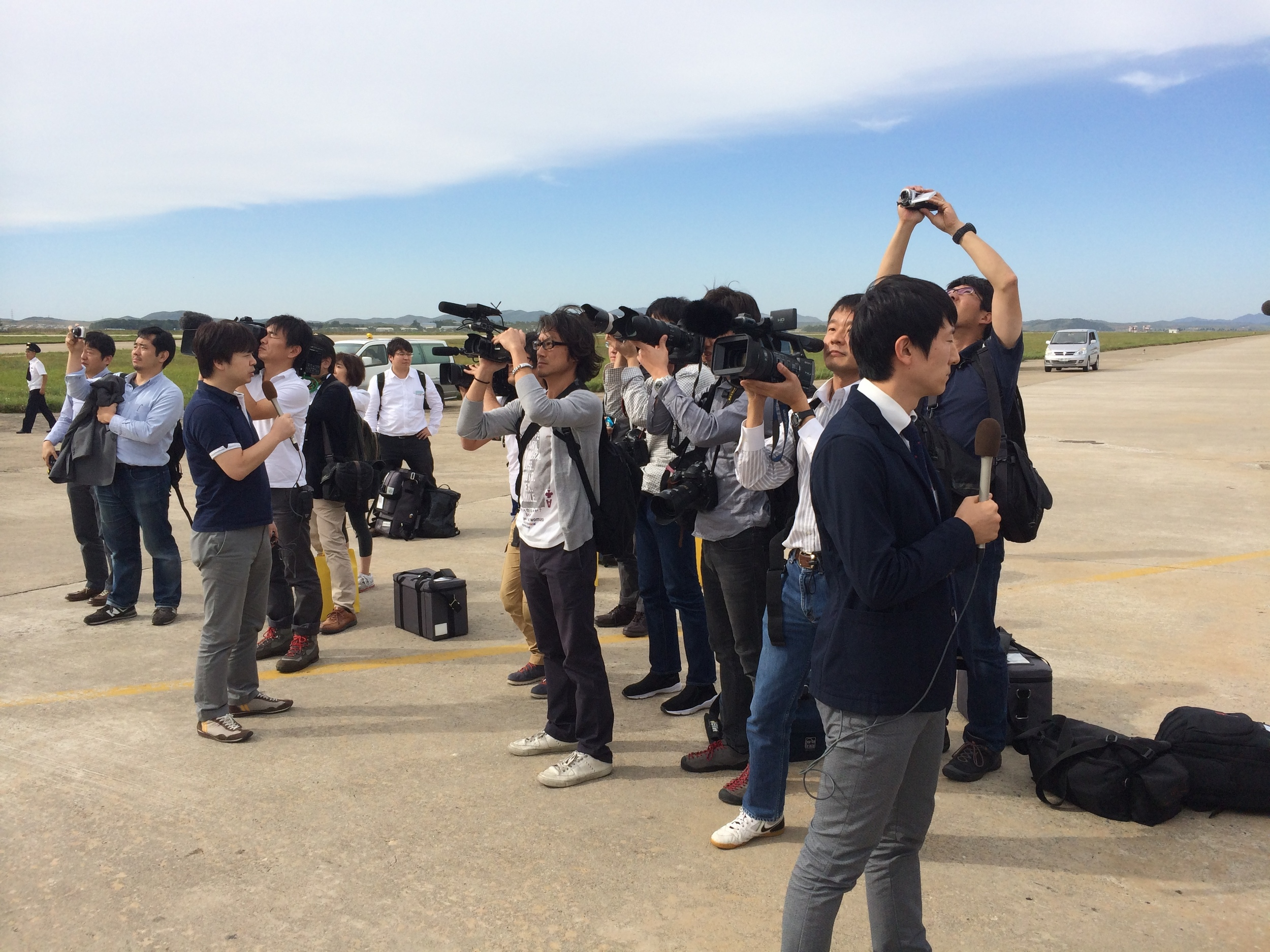 Japanese Press in Pyongyang last week, covering the visit of Japanese coming to visit the graves of family members in North Korea