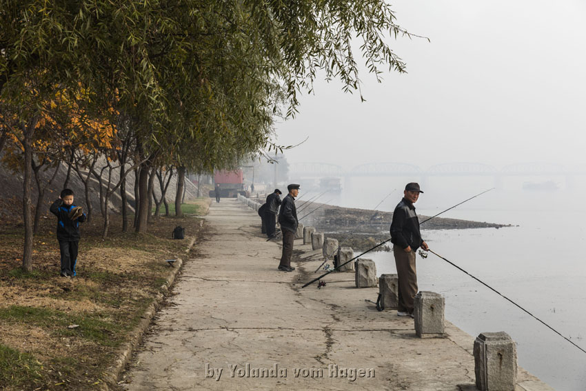 Fishing near the Pyongyang Hotel