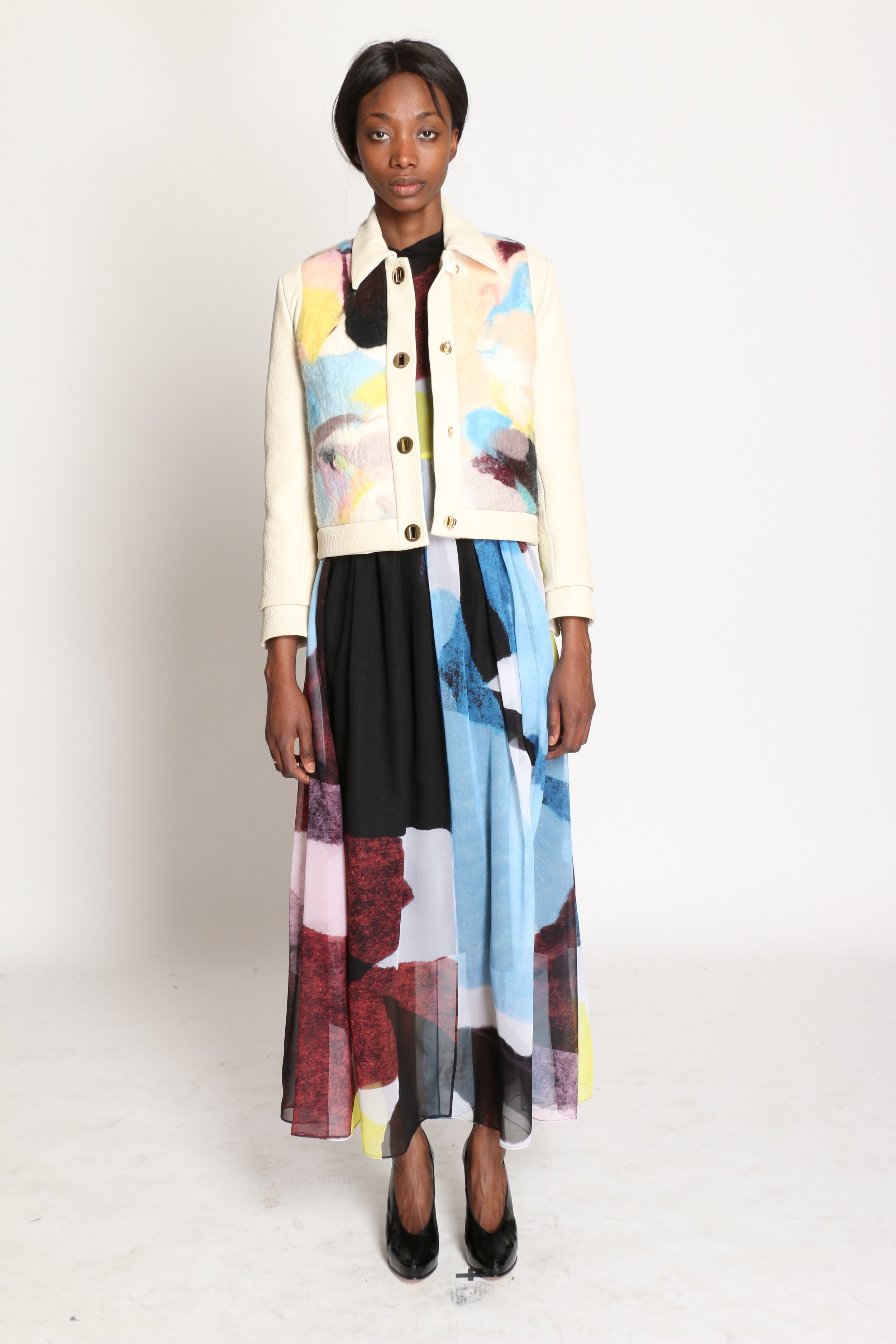 Fall 2015 - Hand Felted Jacket,Tissue Paper Print