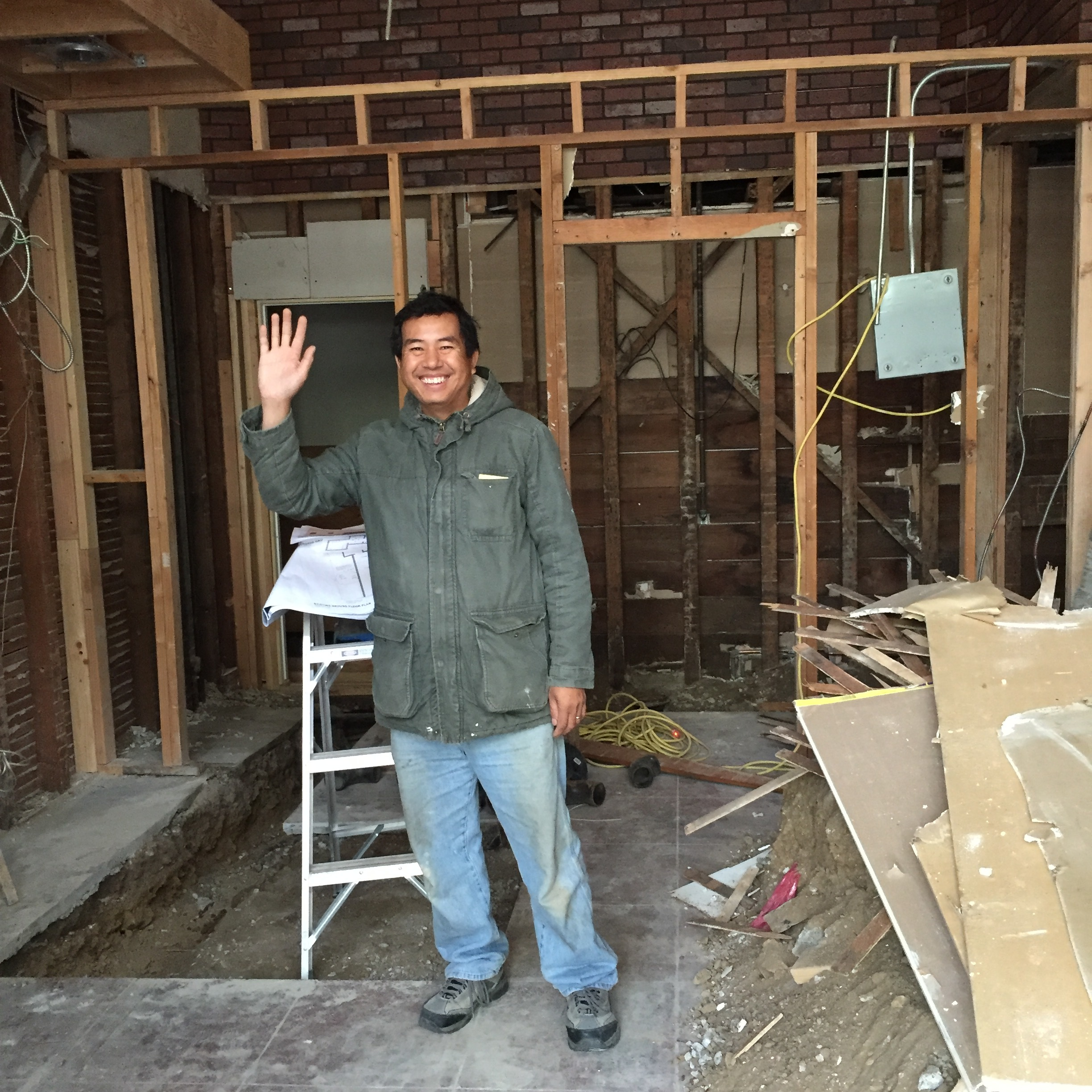 Witnessing a smiling contractor in a space about to be build out....truly priceless!
