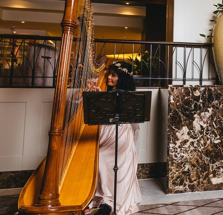 Our talented harpist Melody can be found performing at the Cordis each weekend. She is a very popular choice for weddings and special events.  Check availability.