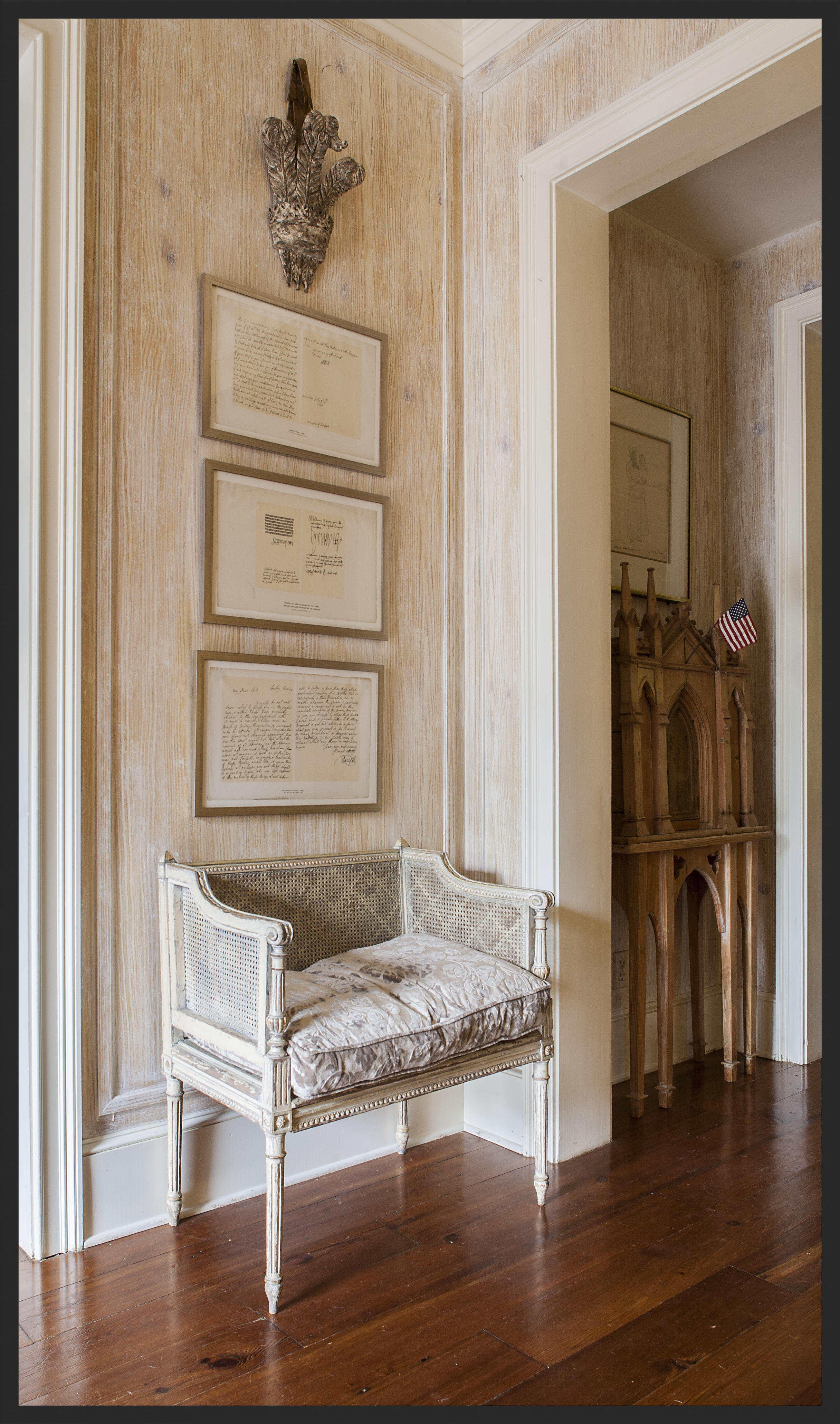 French caned chair. Chair and walls painted by Richard Martin.  Linda Kay McCloy - alittleenglishinteriors.com