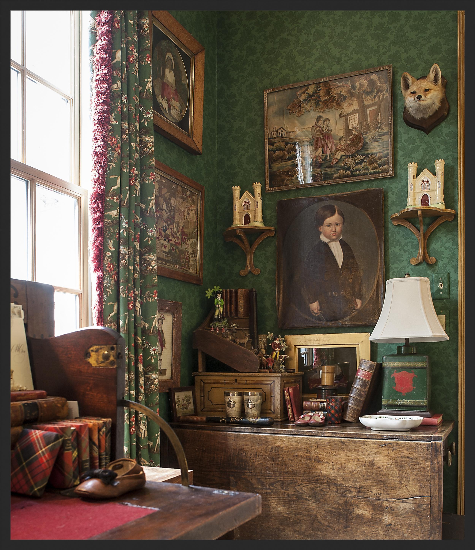 Framed wool and silk needlework, Staffordshire, horn cups, tartan books.  Linda Kay McCloy - alittleenglishinteriors.com