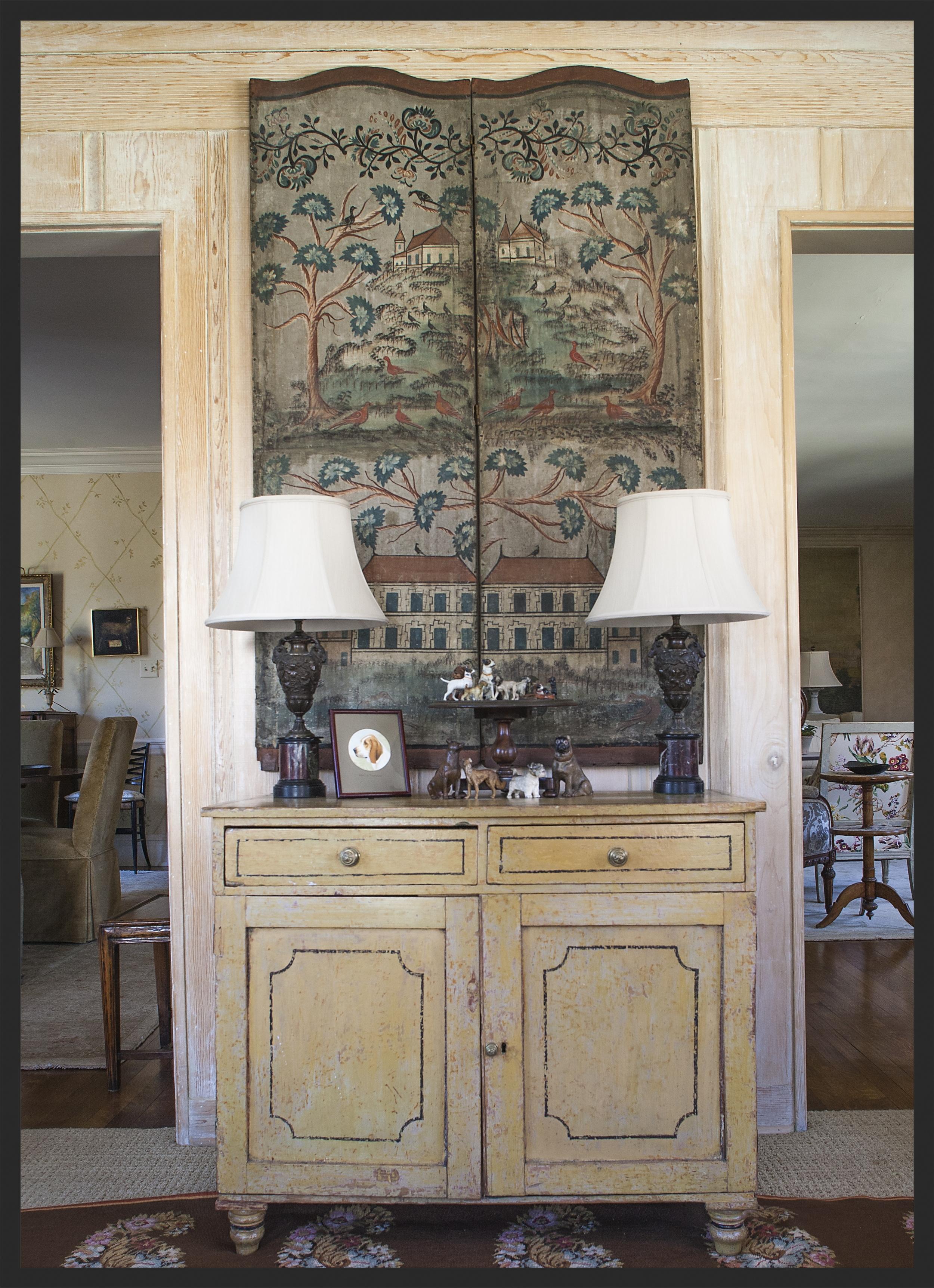 Painted English cabinet under painted folding canvas.  Linda Kay McCloy - alittleenglishinteriors.com