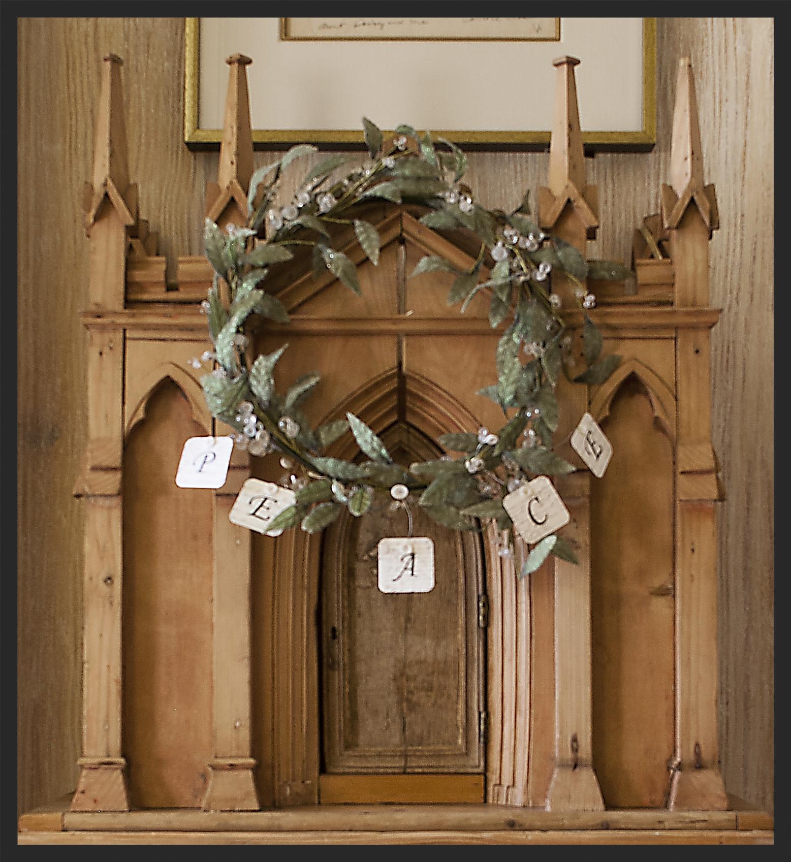Christmas wreath on pine Irish wine keep.  Linda Kay McCloy - alittleenglishinteriors.com