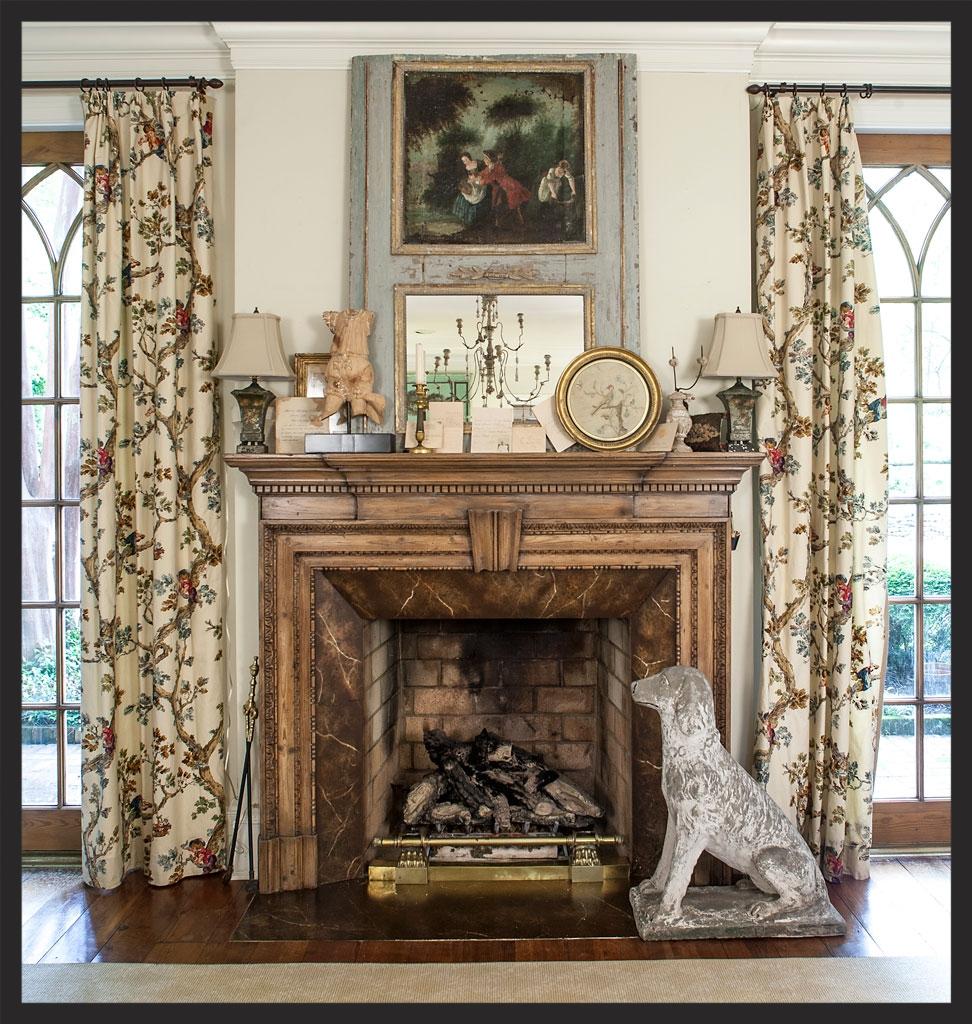 Living room mantle guarded by stone dog.  Linda Kay McCloy - alittleenglishinteriors.com
