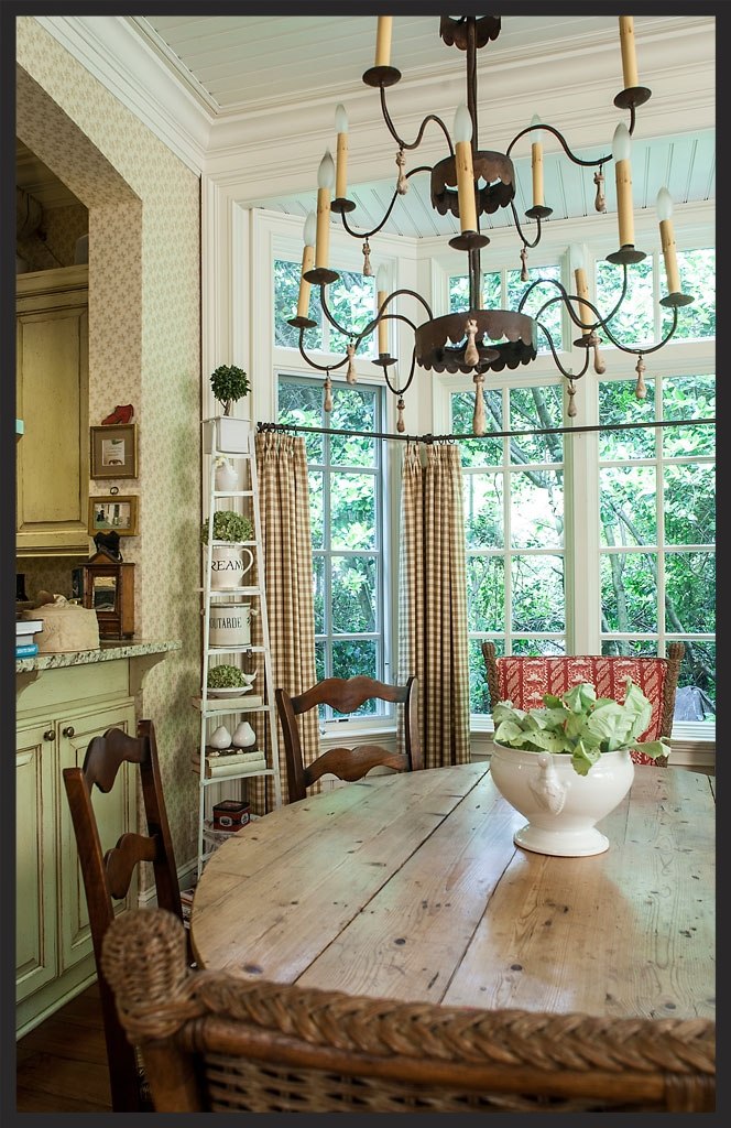 Dining area in keeping room.  Chandelier made by Dale Gillman.  Linda Kay McCloy - alittleenglishinteriors.com
