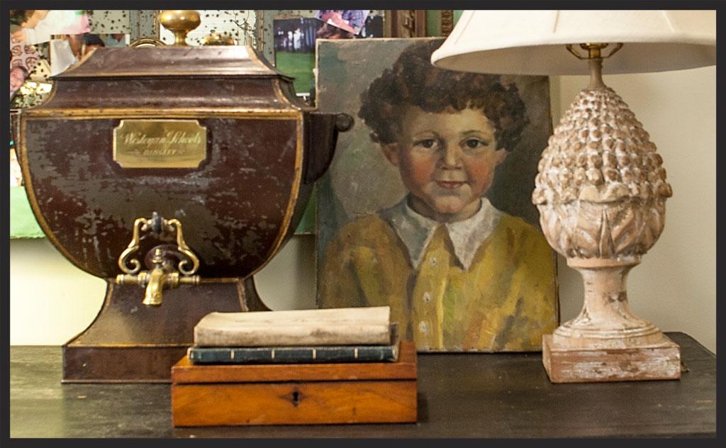 Tole tea urn from Wesleyan School in Bingley, England.  Oil painting of jolly red-cheeked fellow!  Linda Kay McCloy - alittleenglishinteriors.com