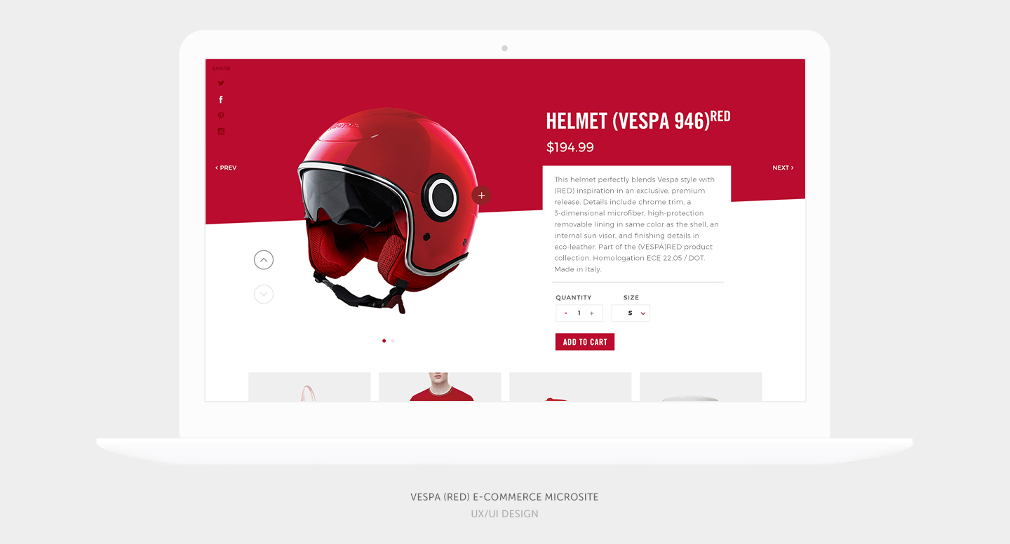 Vespa (RED) E-Commerce Microsite
