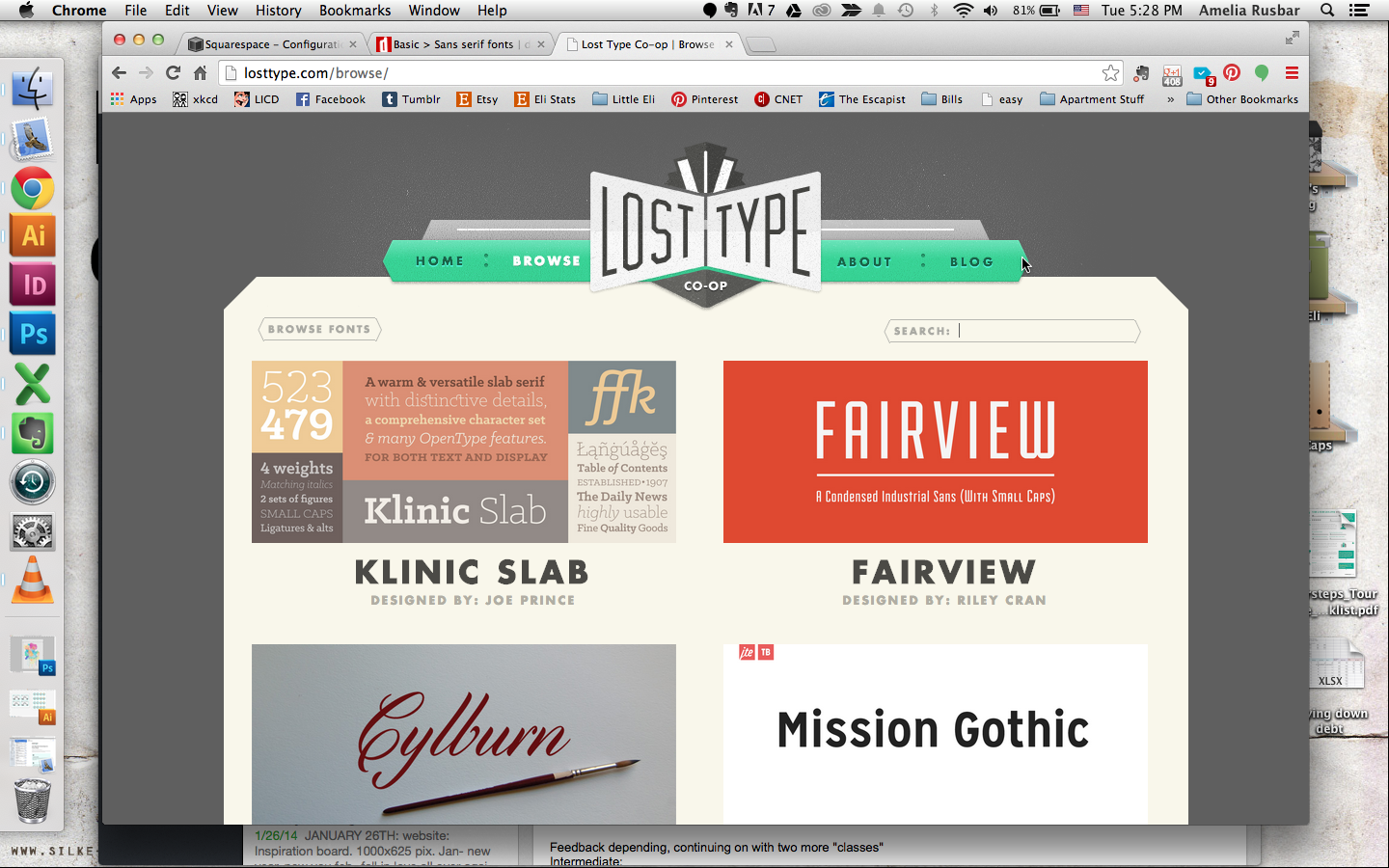 Lost Type - This website is run by a team of designers, so naturally it has some really fantastic fonts! The fonts are really well put together and professional. And it's donation based, so you can pay however much you feel appropriate for the font you love, with all the money going directly to the designers! It's great when you don't have a ton of money to invest in a project, but still want professional results.