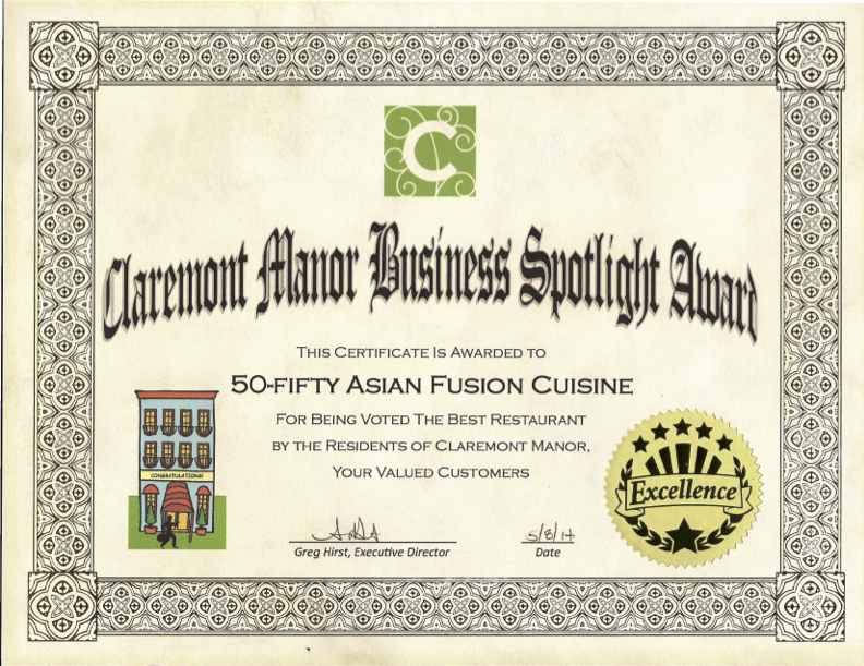 Claremont Manor Business Spotlight Award 2014