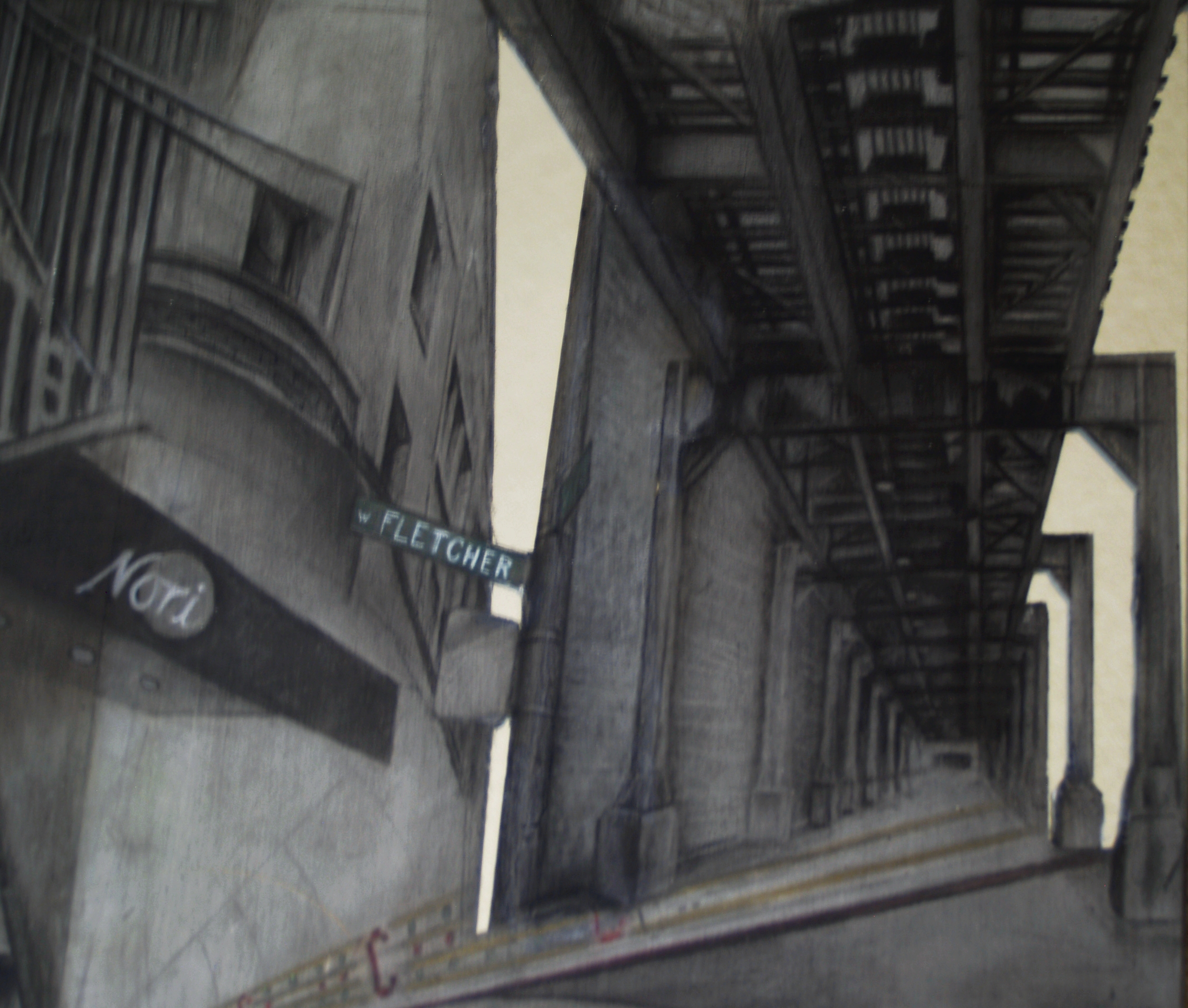 Fletcher street sign, sushi emblem, under the train tracks