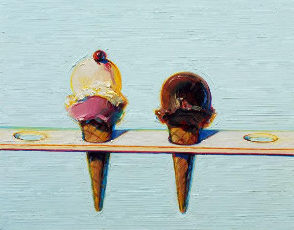 Wayne Thiebaud,  Double Decker Cones , oil on canvas, 1995.