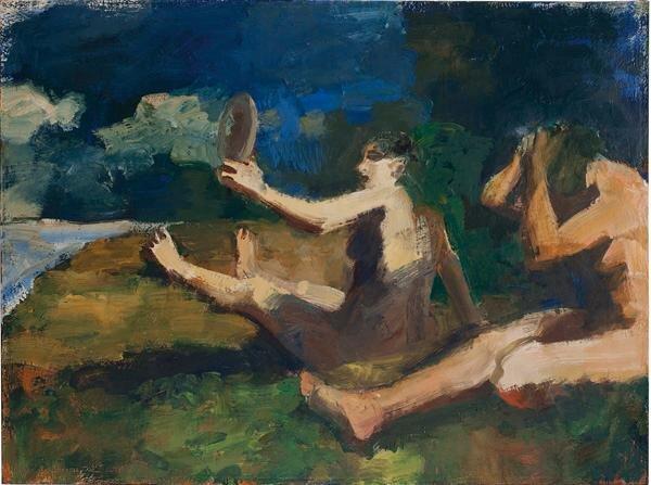 Elmer Bischoff,  Girls, Ocean, Mirror,  oil on canvas, 1961