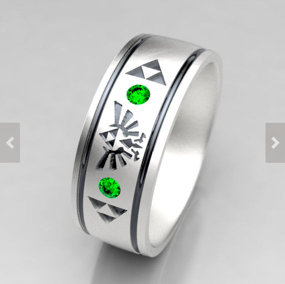 Legend of Zelda Inspired Wedding Band in Sterling Silver with Lab Created Emerald Accent Stones.