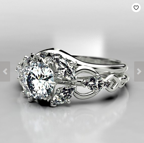Art Nouveau Fairy Inspired Moissanite Ring - Made to order in your size in 3-5 weeks.