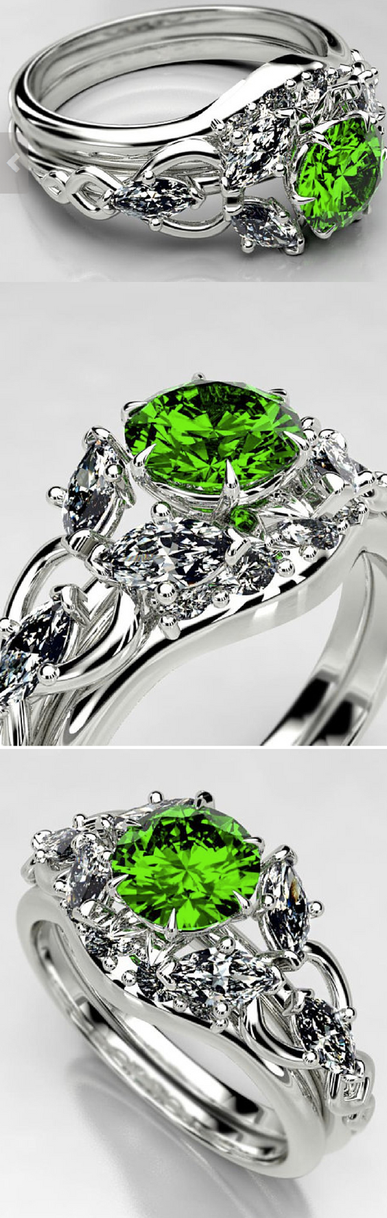 Arwen Lord of The Rings Evening Star Emerald Engagement Ring.png