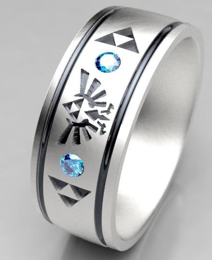 Legend Of Zelda Mens Blue Diamond Wedding Ring Metal Wendler Recycled Gold And Palladium Handmade Bridal And Wedding Bands