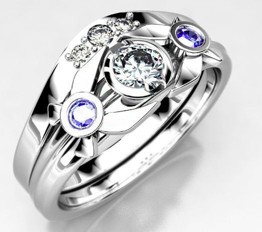 Legend of Zelda Navi Engagement Ring, Sterling Silver With Moissanite Center Stone and Lab Created Sapphire Accent Stones.
