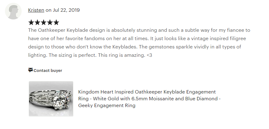 Kind words from a client, who loved the Kingdom Hearts themed ring!