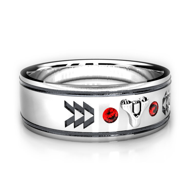 Destiny 2 Inspired wedding ring, featuring Chatham lab rubies in Sterling Silver