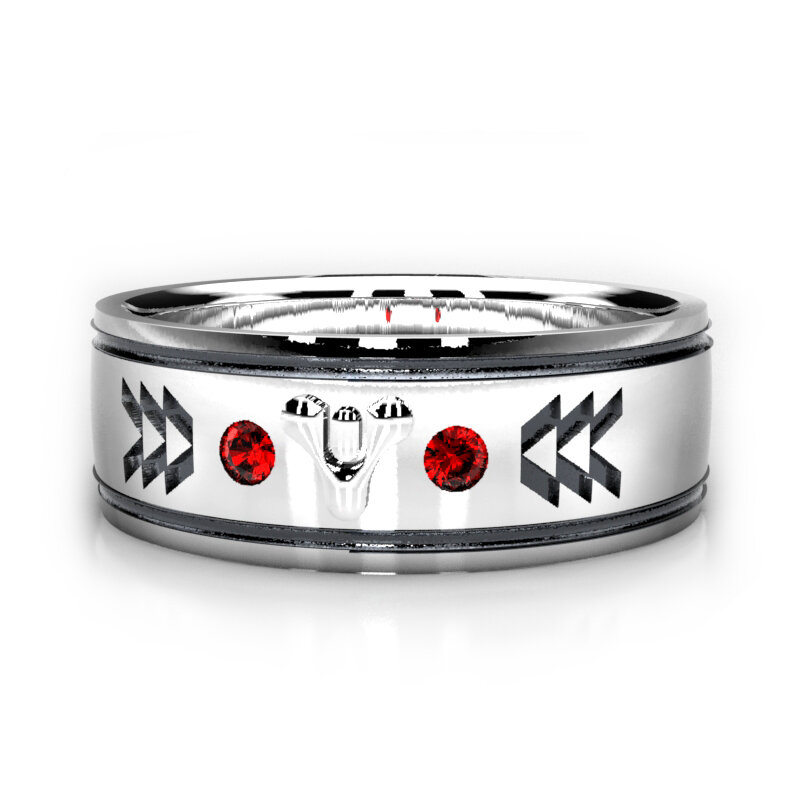Destiny 2 Inspired Wedding Ring in Sterling Silver with Lab Rubies
