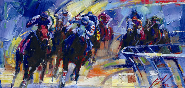 "Across the Board at the Derby 24""x48"""