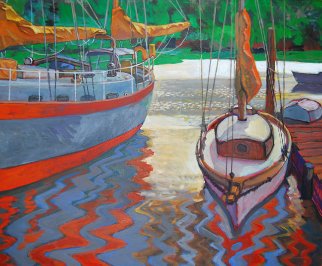 """Four Boats 40"""" x 50"""""""