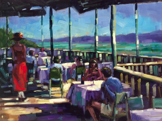 "L'Auberge - View of the Vineyard 48""x36"""