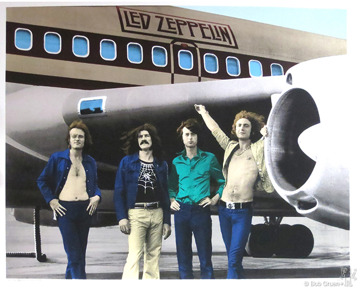 "Led Zeppelin, In Front of Plane, NYC, 1973 -38.5""x48"" - Limited Edition Silkscreen Print"