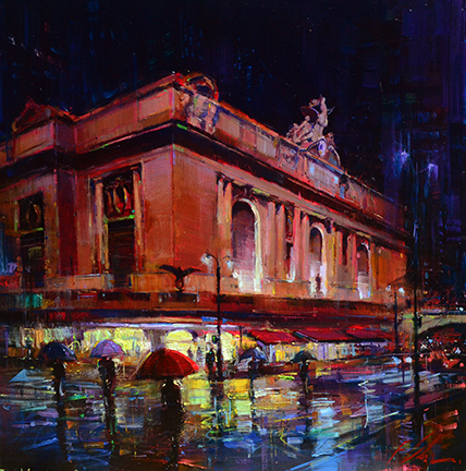 "Grand Central at Night 48""x48"" SOLD"