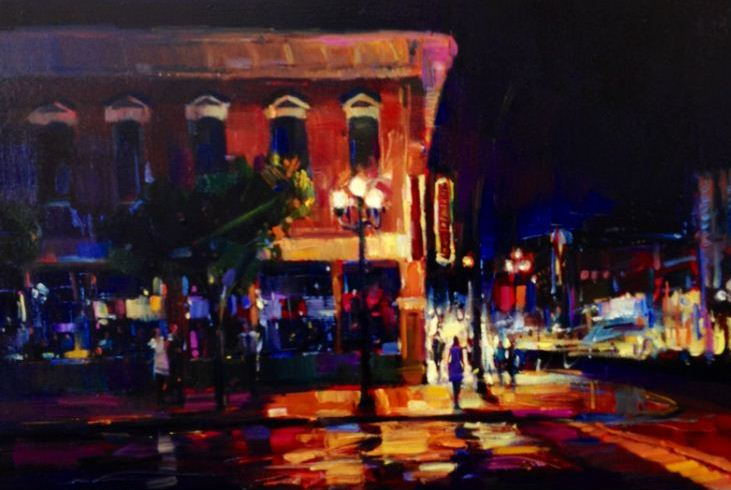 "In the Gas Lamp 36""x24"""