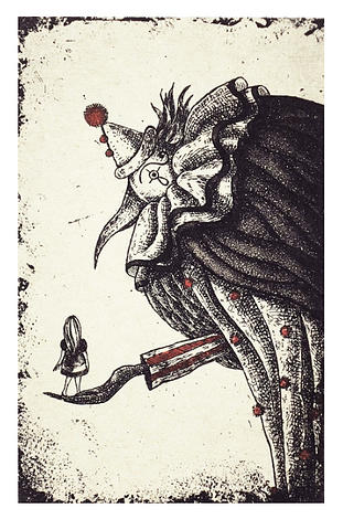 """Clown and Flower 4.5"""" x 3"""""""
